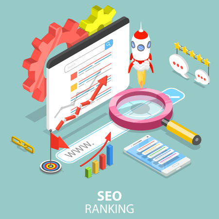 SEO ranking flat isometric vector concept. 스톡 콘텐츠 - 102932196