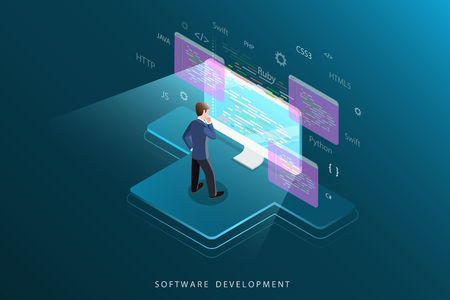Software development flat isometric vector concept.