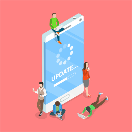 aplicación de smartphone actualización plana isométrico