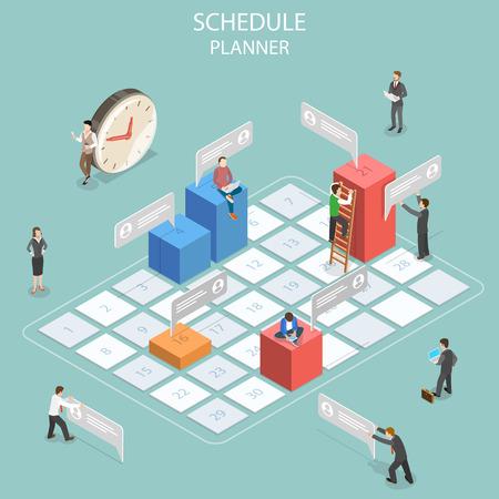 Schedule planner flat isometric vector concept.