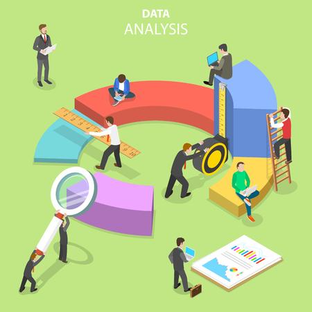 Data analysis flat isometric vector concept. Illusztráció