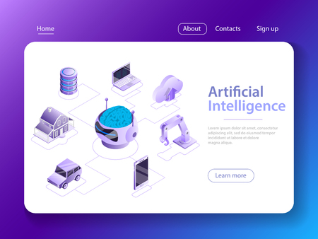 Artificial intelligence flat isometric vector concept.