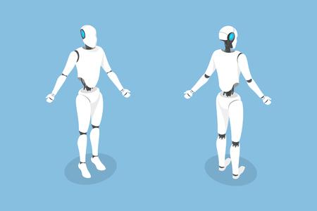 Cyborg flat isometric vector illustration