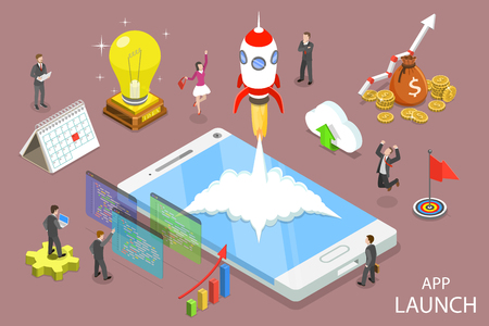 App launch flat isometric vector concept