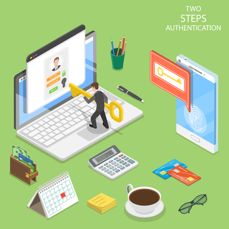 Multi factor authentication flat isometric vector Reklamní fotografie - 109129788