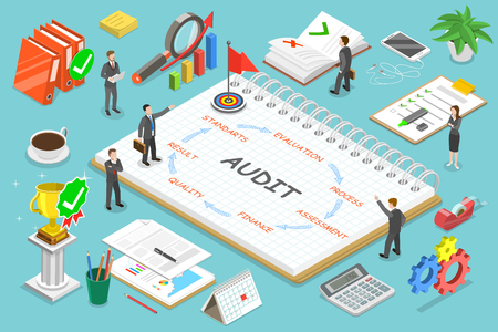 Financial audit flat isometric vector concept