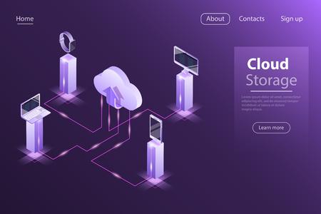 Concetto di vettore isometrico piatto di archiviazione online cloud Vettoriali