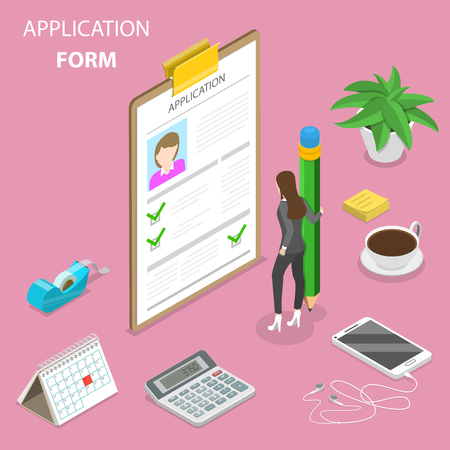 Application form flat isometric vector concept