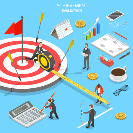 Achievement evaluation flat isometric vector