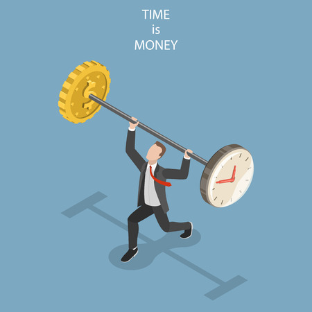 Time is money flat isometric vector concept