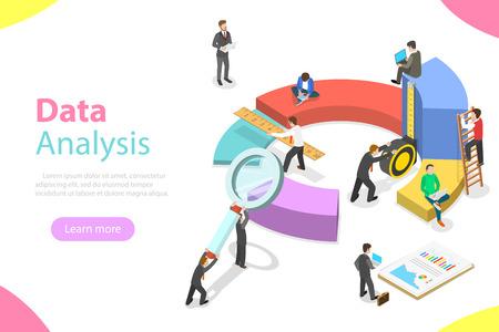 Data analysis flat isometric vector concept
