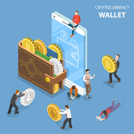 Cryptocurrency wallet flat isometric vector.