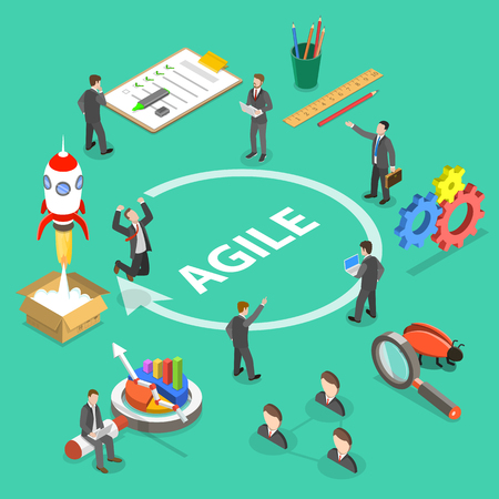 Agile development flat isometric vector concept.