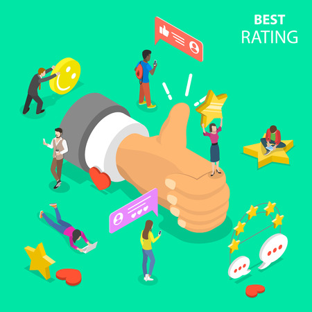 Best rating flat isometric vector concept. Illustration