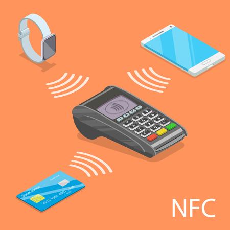 Concepto de vector plano isométrico de NFC. Ilustración de vector