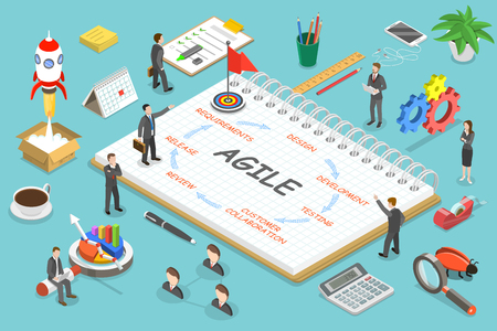 Agile methodology flat isometric vector concept.