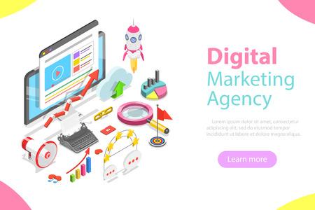 Agencja marketingu cyfrowego płaski izometryczny wektor