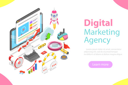 Digital marketing agency flat isometric vector