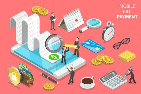 Koncepcja płaskiego wektora izometrycznego płatności rachunku online Ilustracje wektorowe