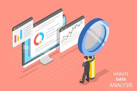 Concepto de vector plano isométrico de análisis de datos de sitios web, análisis web, informe de auditoría de SEO, estrategia de marketing.