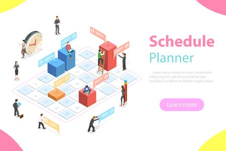 Concept de vecteur plat isométrique de planification d'entreprise, calendrier, rendez-vous, ordre du jour, date importante