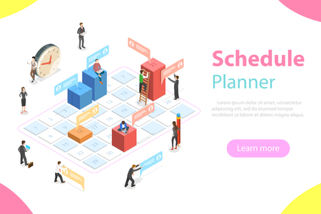 Flat isometric vector concept of business planning, schedule, meeting appointment, agenda, important date