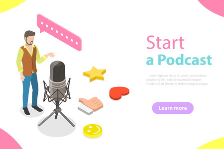 Podcasting flat isometric vector concept. A blogger is standing near the big microphone and recording a podcast. 일러스트