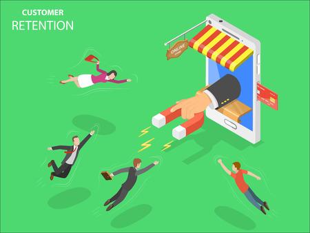 Izometryczny wektor zatrzymania klientów sklepu internetowego