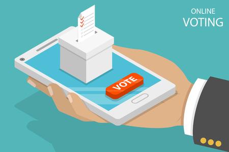 Online voting flat isometric vector concept.