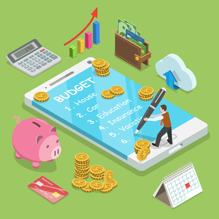 Online family budget flat isometric vector concept. Man is planning the family budget and write down it into the smartphone. Illustration