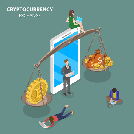 Cryptocurrency exchange flat isometric vector. Illustration