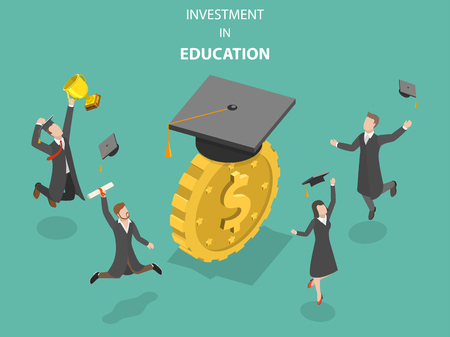Investment in education flat isometric vector.