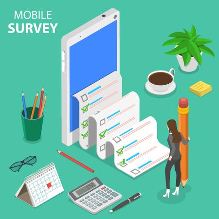 Mobile survey flat isometric vector concept.