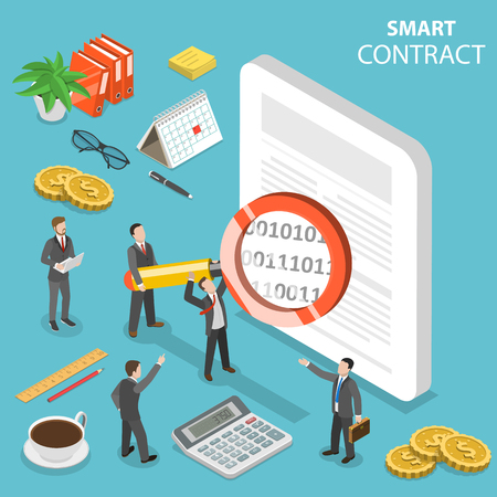 Smart contract flat isometric vector concept. Banco de Imagens - 104993084