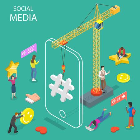 social media flat isometric vector concept.