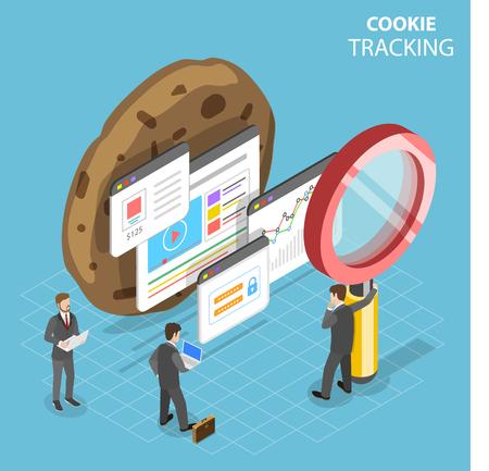 Plat isometrisch vectorconcept van het volgen van webcookies.