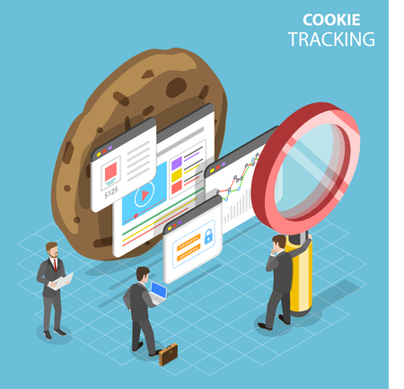 Flat isometric vector concept of web cookie tracking.