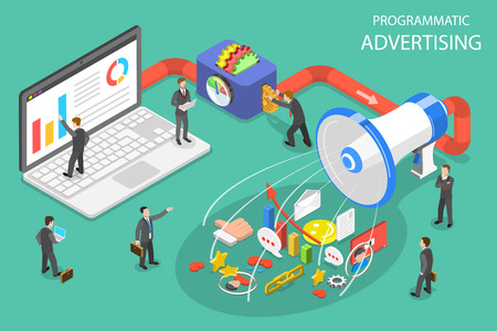 Flat isometric vector concept of programmatic advertising, social media campaign. Illustration