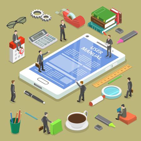 Online-uer manuelles flaches isometrisches Vektorkonzept. Leute, umgeben von Bürokram, diskutieren über den Inhalt des Online-Guides. Vektorgrafik