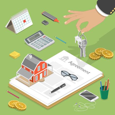 Flaches isometrisches Vektorkonzept des Kaufens des Hauses, des Immobiliengeschäfts, der Hypothek.