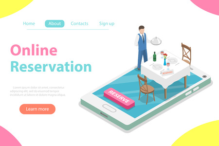 Flat isometric vector concept of table online reservation, mobile booking.