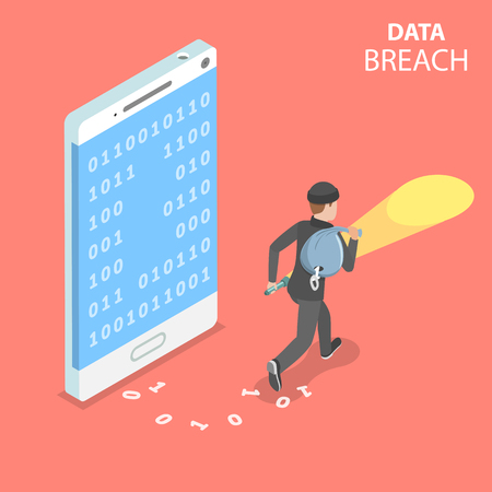 Flat isometric vector concept of data breach, confidential data stealing, cyber attack. Illustration