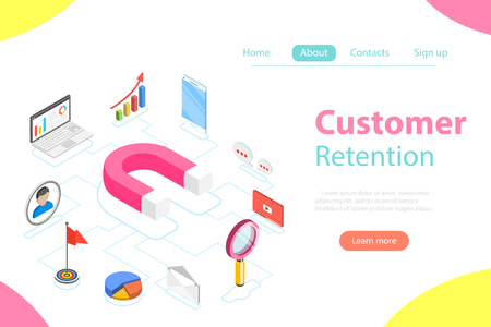 Customer retention strategy flat isometric vector Vectores