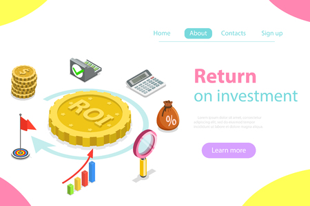 Flat isometric vector concept of return on investment, roi, digital marketing, marketing analysis, profit.