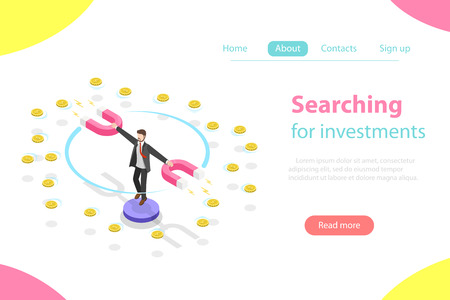 Serching for investment flat isometric vector illustration
