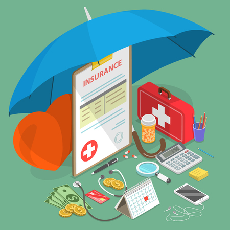 Flat isometric vector concept of health insurance, medical care, prescription medications.