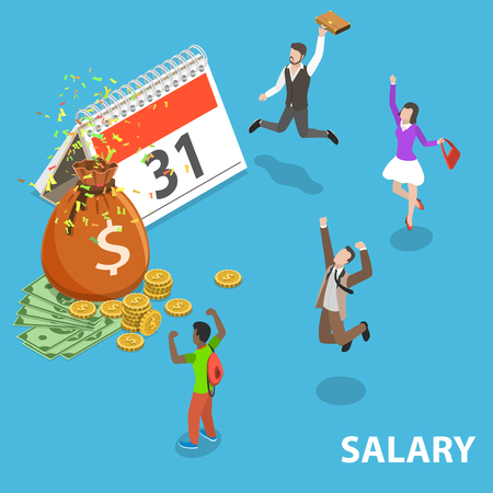 Flat isometric vector concept of salary, payout, bonus, income, annual payment day Illustration