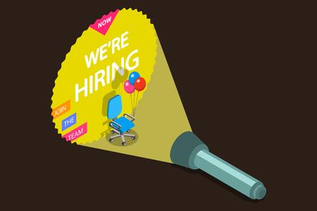 Concepto de vector plano isométrico de contratación de empleados, posición abierta, sillón vacío, contratación de trabajo. Ilustración de vector