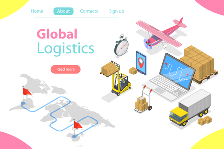 Flat isometric vector concept of global logistics, worldwide freight shipping, fast delivery. Illustration