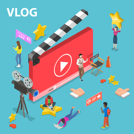Flat isometric vector concept of video blog, vlog, online channel, creating video content.